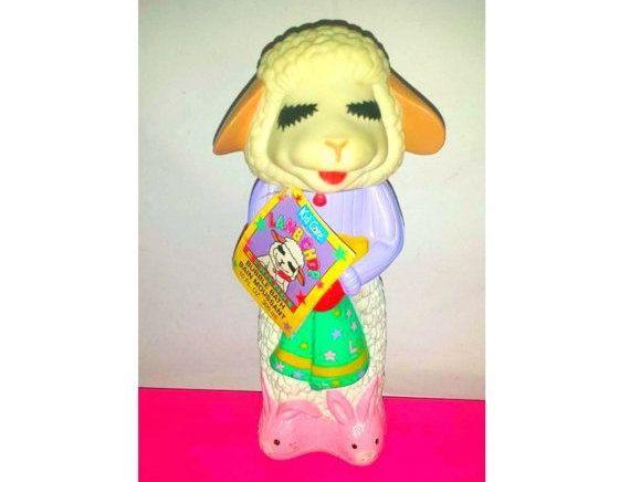 Vintage Lamb Chop Bubble Bath Bottle,1993,3D Lamb Chop,Plastic Lamb Chop,Shari Lewis,Lamb Chop,Lamb,Vintage Kid Care Bubble Bath Bottle by JunkYardBlonde on Etsy