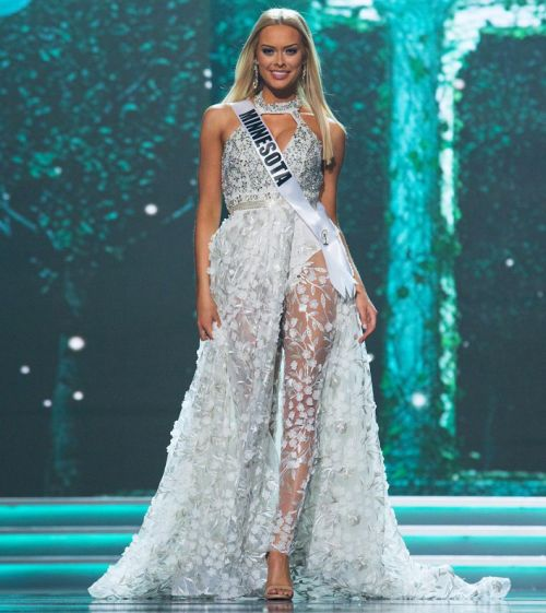 Miss USA 2017 was full of glitz and glamour. The evening gown presentations never disappoint with their elegance and drama.  One designer that is a go-to for many pageant girls for the perfect dress to stun in on stage is Mac Duggal. Nine Miss USA 2017 hopefuls donned a Mac Duggal creation in preliminaries and they lit up the stage with their on-trend ensembles. Here: Miss Minnesota USA 2017. Photo/Anthony M Gomes.