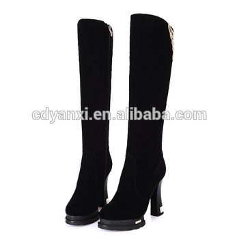 Fashion Women Ladies Knee High Winter High Heel Shoes Boots, Waterproof Winter Boots for Girls 2017