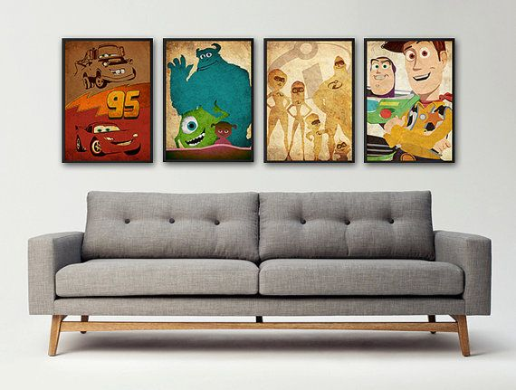 Cars Monsters Inc. The Incredibles Toy Story inspired vintage poster set on Etsy, $30.00