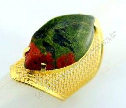 Anel Tela Pedra Unakita Navete Armação de Luxo Elegante Ajustavel Dourado Cod 55.1