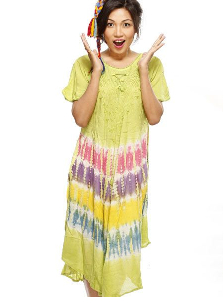 Feel free this summer in this loose, flowing cotton batik dress.