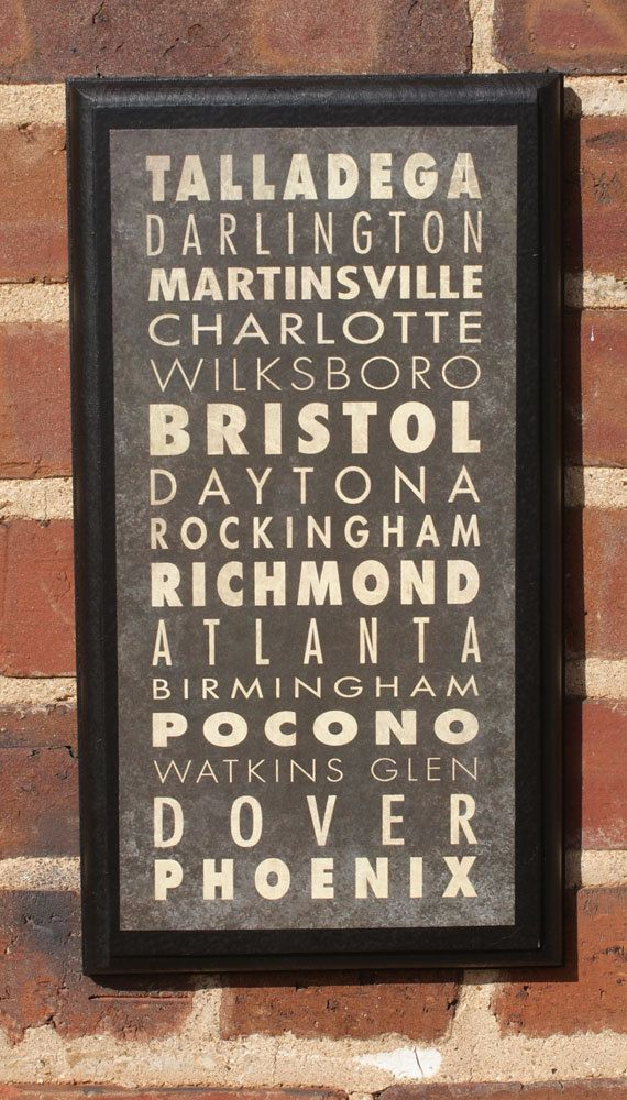 NASCAR Track List Vintage Style Wall Plaque by CrestField on Etsy, $28.00