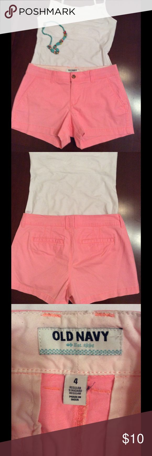 Old Navy Peach Shorts Nonsmoking home. 16 and 1/2 inch waistband when measured flat. 3 inch inseam.  Really cute! Old Navy Shorts Jean Shorts