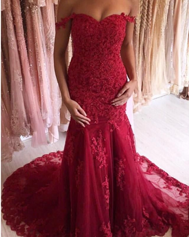 203add04e038 Charming Lace Off Shoulder Mermaid Evening Dresses 2019 Prom Gowns ...