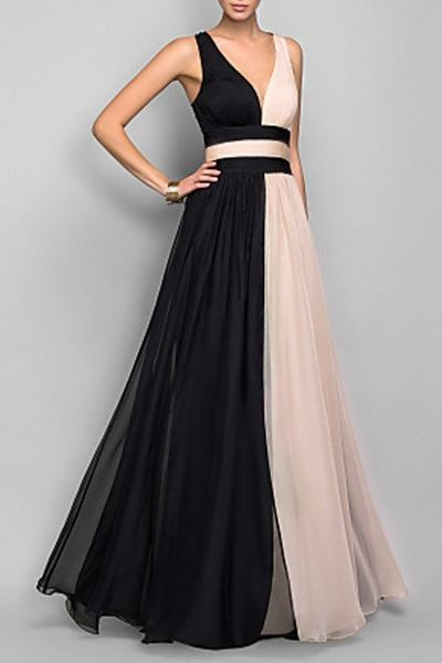 Plunging Neck White Black Splicing Dress