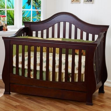 Million Dollar Baby Classic Ashbury 4 In 1 Sleigh Convertible Crib With  Toddler Rail In Espresso