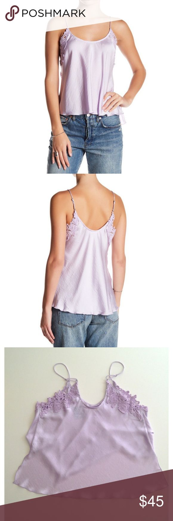 Free People Woah Applique Purple Cami Small NEW Free People Woah Applique Solid Lavender Purple Cami Small Scoop Neck Spaghetti NWT NEW  Scoop neck U-back Adjustable spaghetti straps Crochet floral trim Hi-lo hem  Fabric content: 100% polyester Care: hand wash cold Free People Tops Camisoles