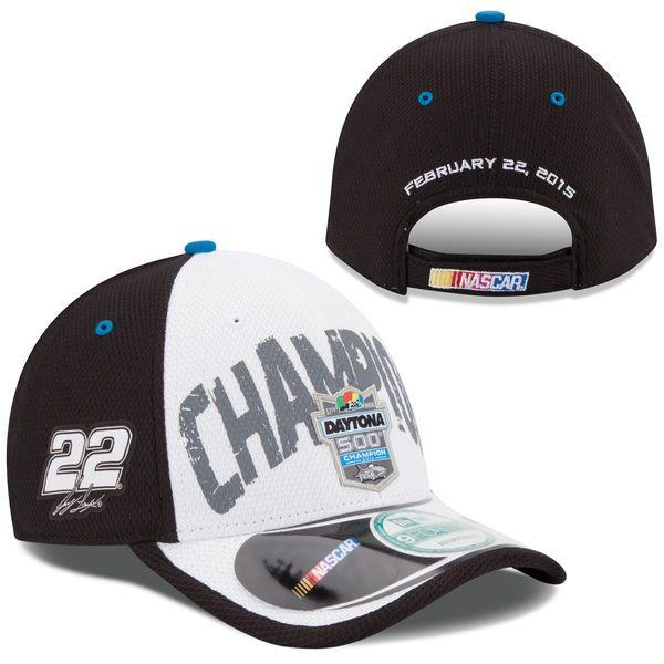 Men's Joey Logano New Era White/Black 2015 Daytona 500 Champion Victory Lane Cap 9FORTY Adjustable Hat
