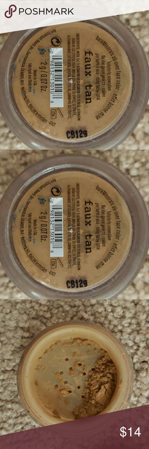 BARE MINERALS Faux Tan *Full Size FOR SALE OR TRADE ON POSH ONLY!!!! BARE MINERALS full size FAUX TAN.New and unused.Opened but this is 100% full Bare Escentuals Makeup Bronzer