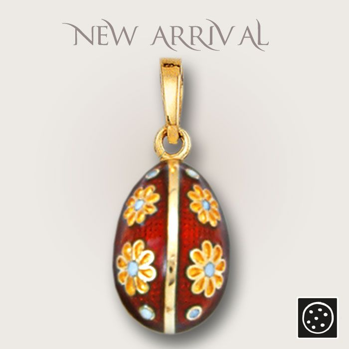 A new 14K solid gold and hot, vitreous enamel egg pendant in Faberge style. Check out the link for more details and other colors available.
