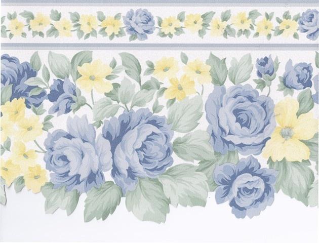 Blue Yellow White Roses Wallpaper Border