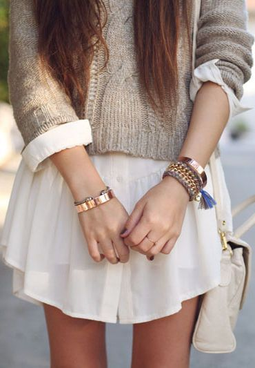 Fall sweater with a little dress peaking out. How cute would this be with boots?