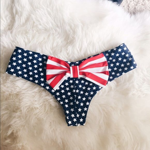 Stars and Stripes bikini bottom New bikini bottoms, cheeky. Small. No seams and bigger bow than the thong style. I am leaving out of town in June until August, won't be able to send this out in July! Get it now for 4th of July!!!! It is not brand mentioned, sorry just for exposures. LF Swim Bikinis