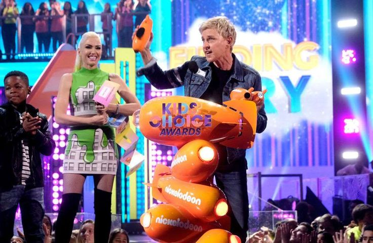 """Ellen DeGeneres' life in pictures  -  April 26, 2017:     Ellen DeGeneres accepted three orange blimps at the Nickelodeon Kids' Choice Awards in March 2017 for Favorite Voice From an Animated Movie, Favorite Animated Movie and Favorite #Squad for """"Finding Dory."""" During her #Squad award speech, Ellen said, """"It means the most to me that you would want to be in my squad. That, to me, is the biggest compliment, that I would win #Squad."""""""