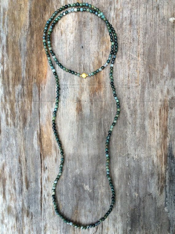 LAST IN STOCK Long Beaded Double Wrap Necklace with Moss Green Agate Beads and…