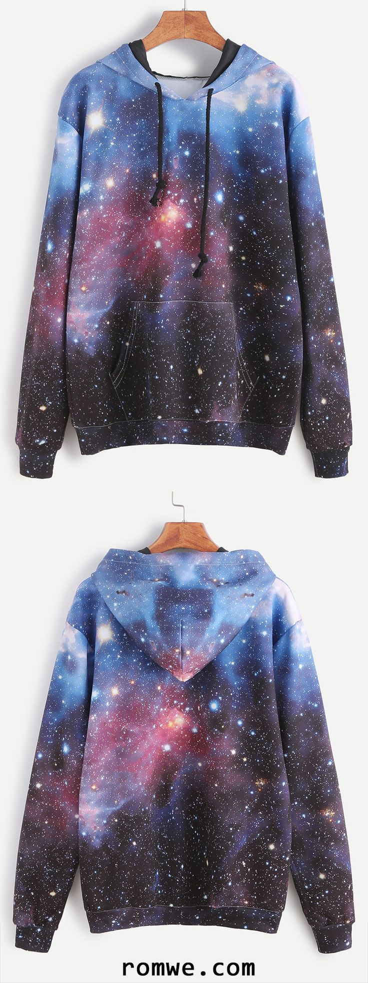 Galaxy Print Drawstring Hooded Pocket Sweatshirt