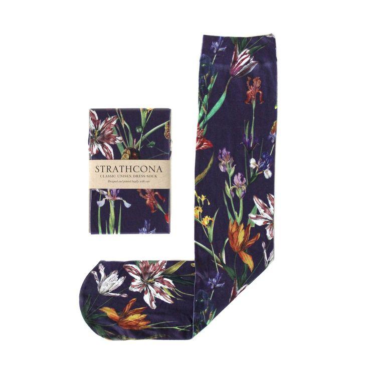 Violet Tulip Garden Socks