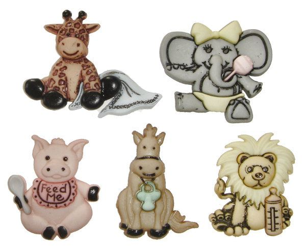 Cute & Cuddly Wild Babies Plastic Buttons/ DIY  from UNIVERSAL IDEAS by DaWanda.com