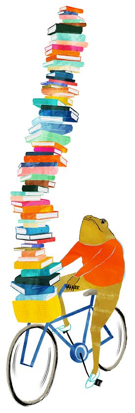 Frog on bike bookmark (Created by Jackie G. for 2nd Edition Booksellers in Raleigh, NC)