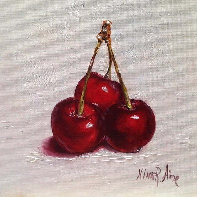 Still Life with Three Red Cherries by Nina R. Aide