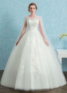 Robe de mariée princesse dentelle Watteau Train robe de mariée perles Illusion Keyhole