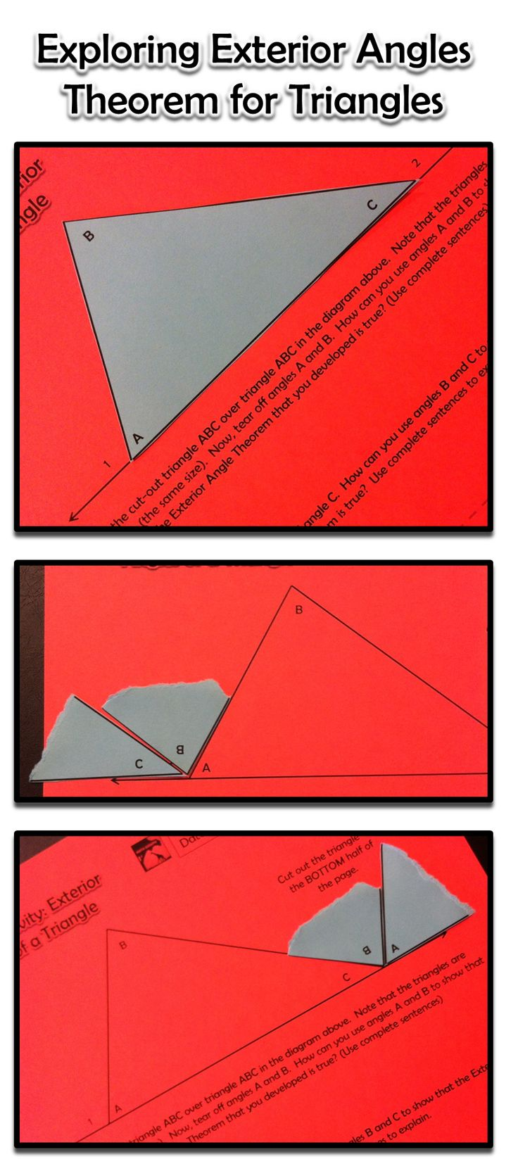 Exterior angles of a triangle inquiry activity activities exterior angles and triangles for Geometry exterior angle theorem