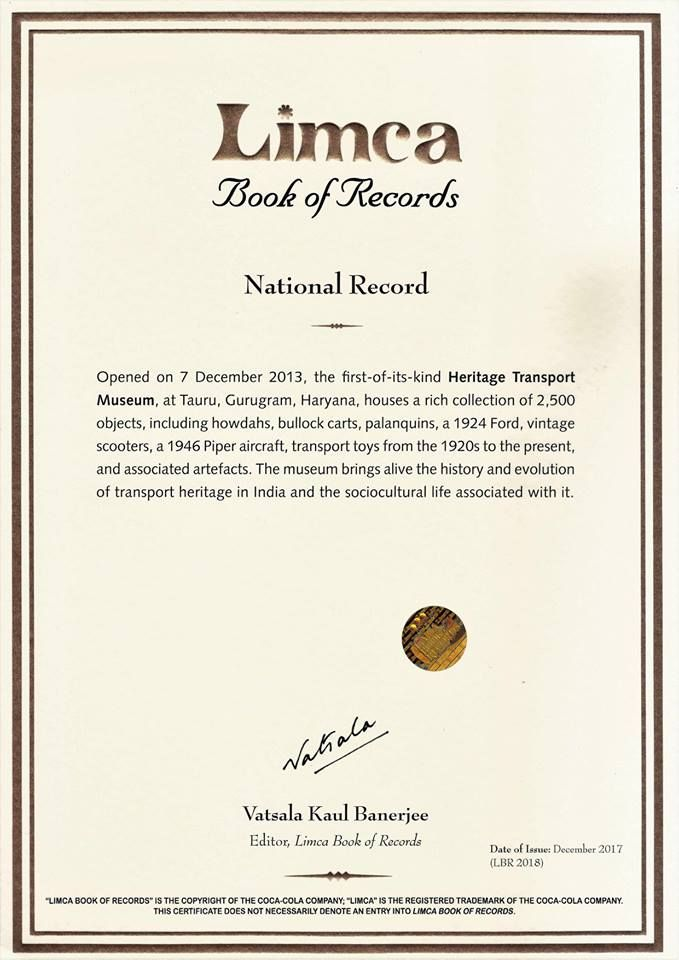 We are proud to hold the National Record for the first-of-its-kind Heritage Transport Museum in the 2018 Limca Book of records!!! #heritagetransportmuseum #incredibleindia #transportmuseum #limcabookofrecords #nationalrecord #museum #vintagestuff #ilovemyindia #gurgaon #comeseeexperience