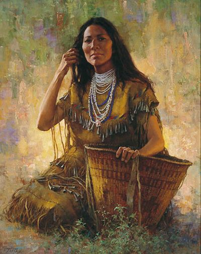 Isdzan - Apache Woman by Howard TERPNING ✿ Isdzan is one of the Apache words meaning woman. The model for this painting was a full-blooded Apache woman,  siting beside a burden basket, wearing a Sunrise Ceremony dress. It's decorated with tin cones and some beadwork. Tin cones were used as decorations by all the tribes. - Howard Terpning