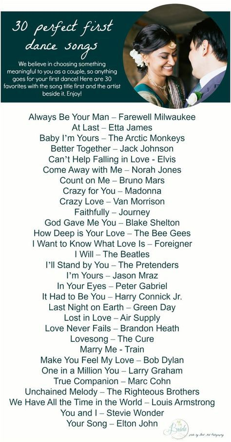 Playlist of 30 songs for a first dance at a wedding! :) First Dance Songs as seen on Hill City Bride