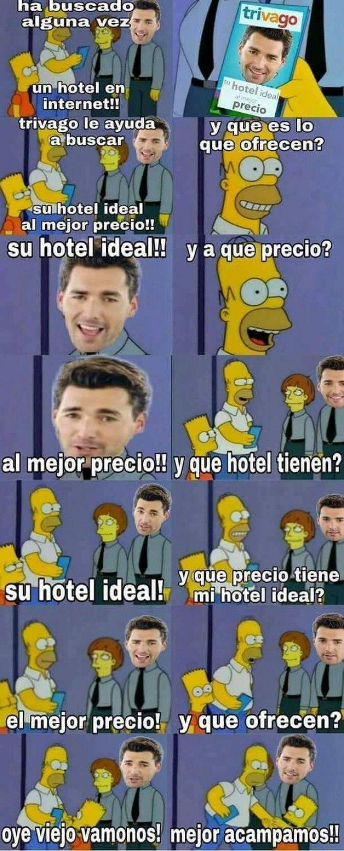 Trivago - Tu hotel ideal al mejor precio ;) Para más imágenes graciosas visita: https://www.Huevadas.net #meme #humor #chistes #viral #amor #huevadasnet