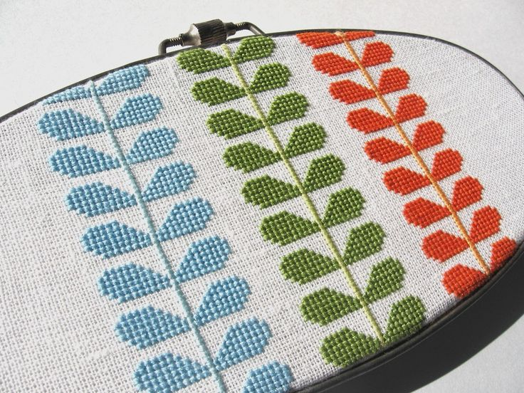 A modern cross stitch design inspired by the work of Orla Kiely (For sale on Etsy)