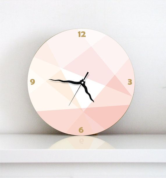 Peach Pastel large modern Geometric unique kitchen living room bedroom home decor decorative patterned wall clock