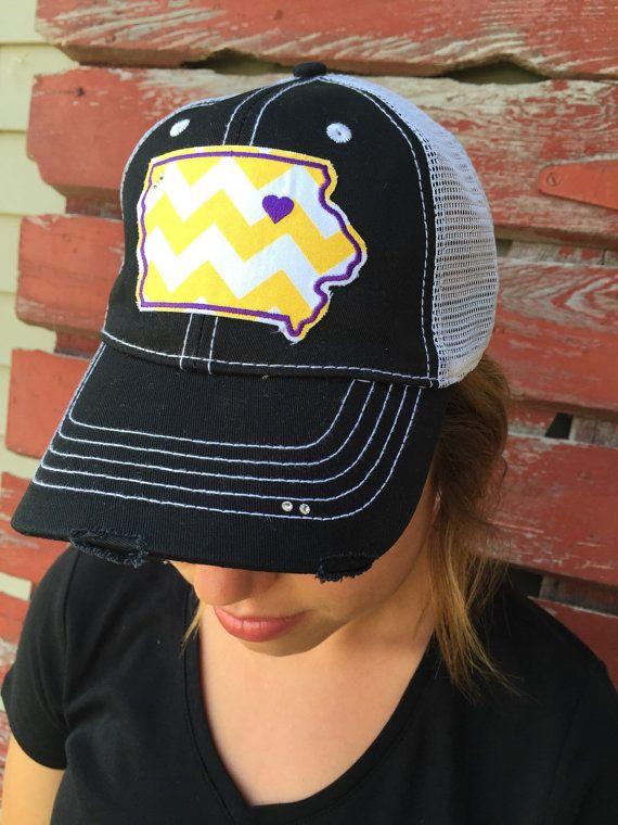 UNI University of Northern Iowa Chevron Bling Trucker Hat