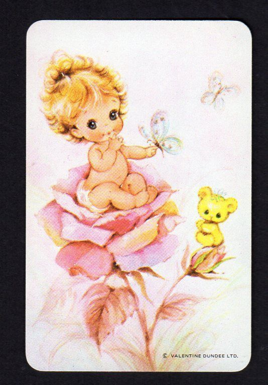 Valentine Swap Card - Gorgeous Baby Girl & Butterflies (BLANK BACK)