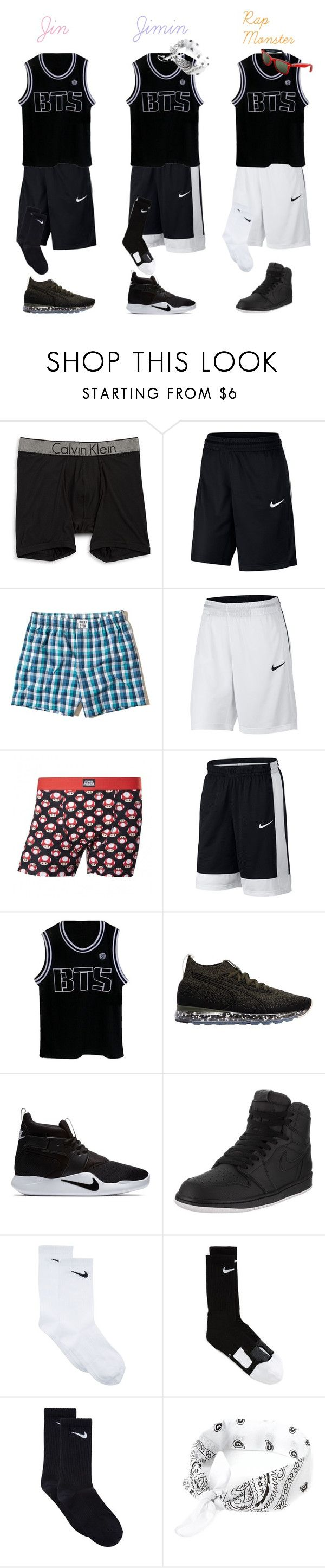 """""""BTS Basketball Uniform (Part Two)"""" by whengaypigsfly ❤ liked on Polyvore featuring Calvin Klein, NIKE, Hollister Co., Puma, Jordan Brand, Ray-Ban, men's fashion and menswear"""