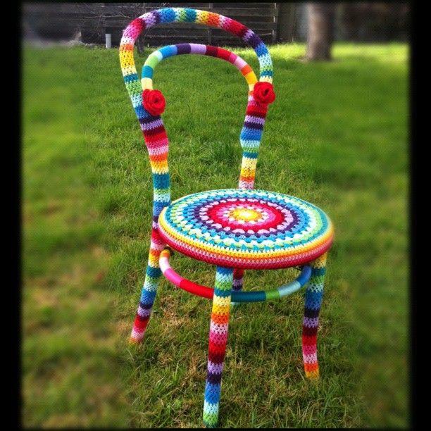 Yarn-bombed chair