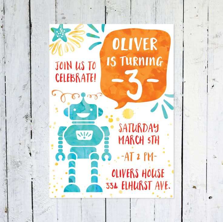 Birthday Invitation Boy, Robot Invitation, Birthday Invitation Any Age, Blue, Orange, Watercolor, Printable, Printed Birthday Invitation by vocatio on Etsy https://www.etsy.com/ca/listing/578947318/birthday-invitation-boy-robot-invitation