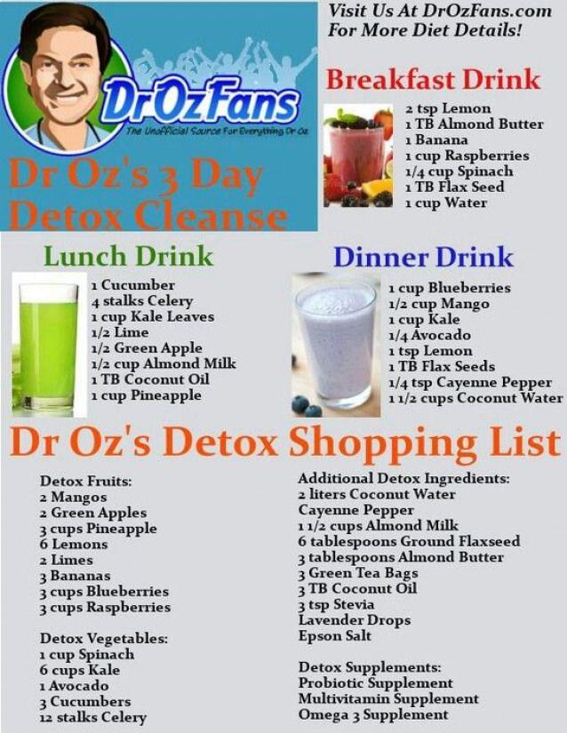 Dr Oz's 3 day Detox Cleanse #juicecleansedetox #juice #cleanse #detox #dr #oz