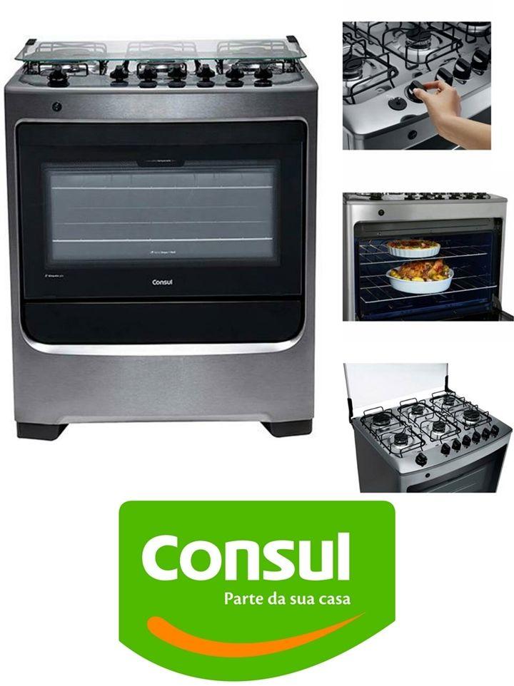 Este é o fogão Consul 6 bocas inox. Clique na imagem e confira! #fogao #6bocas #Consul