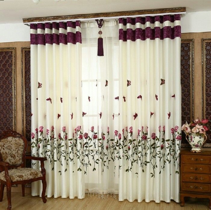 Rose And Erfly Embroidered Charmeuse Fabric Curtain For Living Room Window Treatments Bedroom Kitchen Shade Drape Home Office Idea