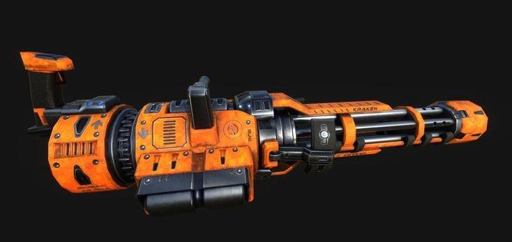 minigun 3d model obj fbx mtl 1