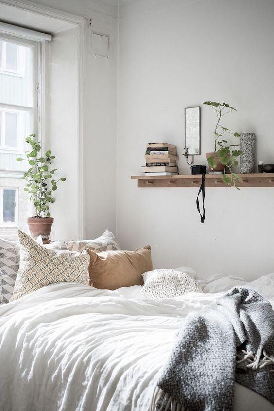 Cozy Minimalist Bedroom Scandinavian Interior Plants