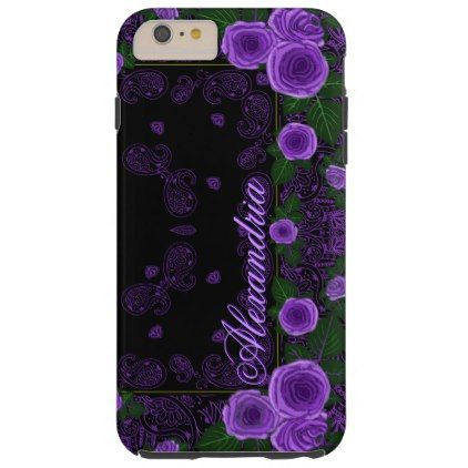 Raspberry Roses & Paisley Bandana Name Template Tough iPhone 6 Plus Case - template gifts custom diy customize