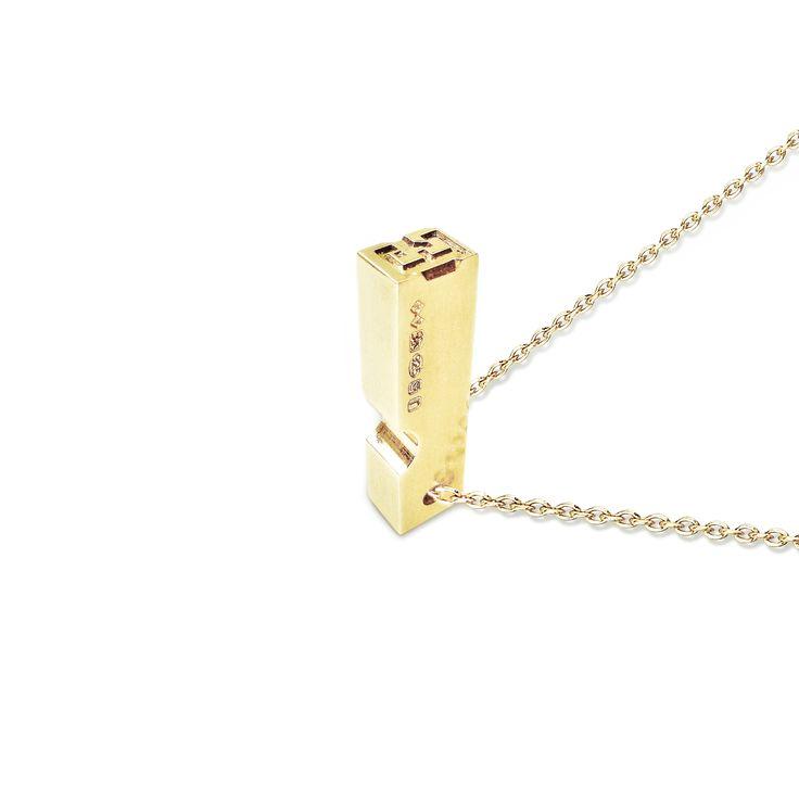 Gold Plated Silver Letterpress Pendant