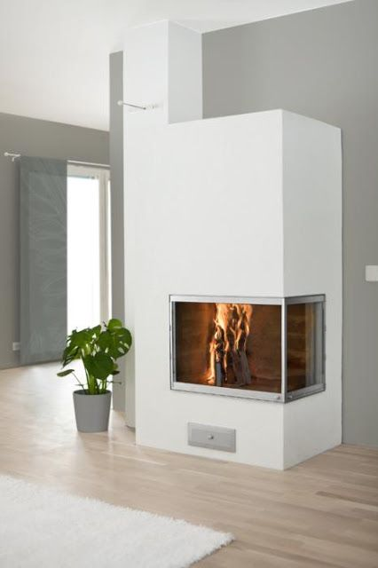 fireplace integrated into the wall