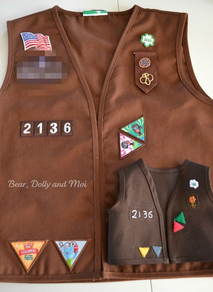 The Brownie vests are made for Miss C.'s  doll troop  are based on her own vest.  I simplified a few details, like her badges,  but I kept ...