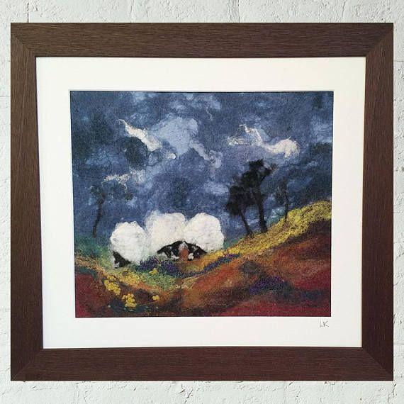 framed textile art felt painting sheep fiber art Scottish