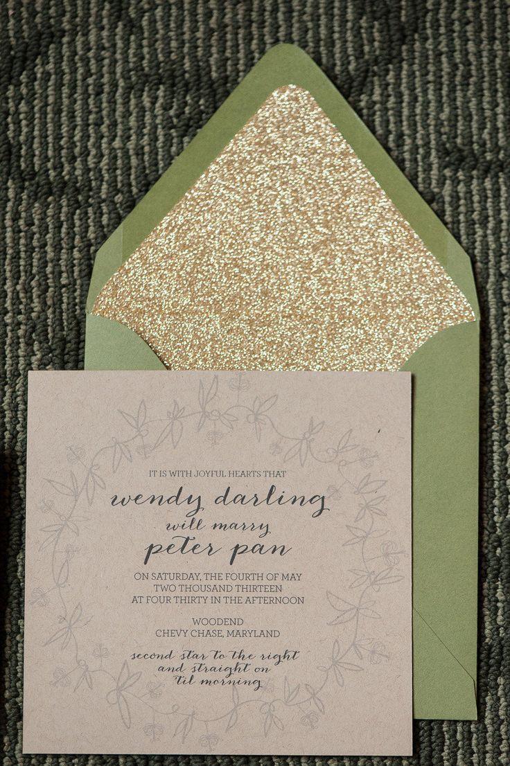 Wedding Invitations | Glittered Envelope Liners