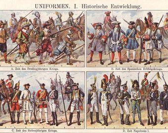 Militärische Uniformen, das historische original 1922 Drucken - Mode, Wand-Dekor - 93 Jahre alt Deutsche Buchillustration Platte (A696)